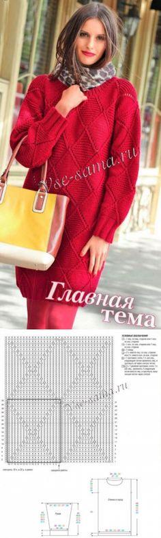 Красное ажурное платье спицами - Платья и сарафаны