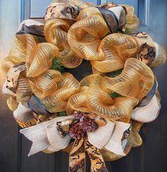 Elegant Gold Mesh Deco Mesh Christmas Wreath with Burlap and Black & Gold Ribbon