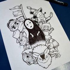 Fanart para tattoo Studio Ghibli, DotWork Blackwork