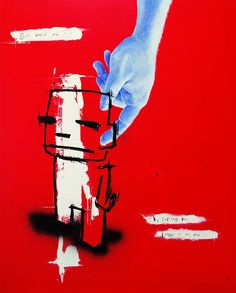 """Saatchi Art Artist Jan-Hein Arens; Painting, """"God saved me, by putting his finger in my ear."""" #art"""