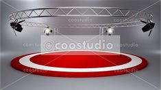 Circle red stage backdrop studio Virtual Studio, Green Screen Backgrounds, News Studio, 3d Design, Red Color, Backdrops, Stage, Mirror, Tv