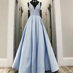 Simple blue v neck satin long prom dress from dress idea 1000. Cheap Elegant Dresses, Cheap Prom Dresses, Simple Dresses, Pretty Dresses, Formal Dresses, Prom Dresses With Pockets, Wedding Dress With Pockets, Dress Pockets, Blue Evening Dresses