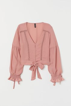 Fantastico V-neck Blouse with Buttons - Dusty rose - Ladies V Neck Blouse, Long Blouse, Blouse Styles, Blouse Designs, Modelos Fashion, Casual Outfits, Fashion Outfits, Lace Inset, Elegant Outfit