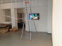 """Elias Crespin, Tapiz Doble, 2013. Installing the exhibition """"Art cinétique, art numérique"""", Galerie Denise René Espace Marais, Paris Photo Atelier Crespin"""