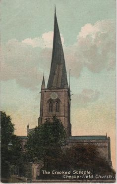 Vintage postcard of the Crooked Steeple, Chesterfield Church, Derbyshire by DakotabooVintage, £1.99
