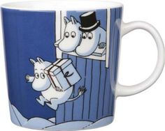Moomin Mug Winter 2009 Christmas Surprise Arabia Moomin Mugs, Fuzzy Felt, Tove Jansson, Nordic Home, Dark Blue Background, Tea Cozy, Christmas Mugs, Ceramic Cups, Marimekko