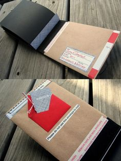 """I created this book as part of the Bookbinding Etsy Street Team's 2011 Spring Swap. The theme of the swap was """"Fits in an Envelope"""". I couldn't shake the idea that """"fits in an envelope"""" meant that the structure was literally enclosed in an envelope. Postage was added directly to the front cover of the book for mailing."""