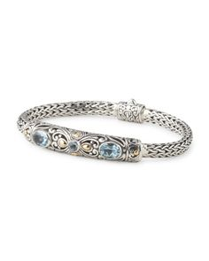 Made In Bali Sterling Silver And 18k Gold Accent Blue Topaz Bracelet