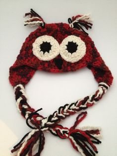 3 to 6 Month Baby Organic Cotton Crochet Red Owl Hat by Parachet Crochet Baby Hats, Cotton Crochet, Organic Baby, Organic Cotton, Red Owl, Owl Hat, Cute Owl, Hat Making