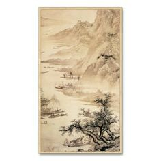 SOLD! - Vintage Chinese Sumi-e painting landscape scenery Business Card Template #vintage #chinese #sumie #painting #landscape #business #card #office #template #profile