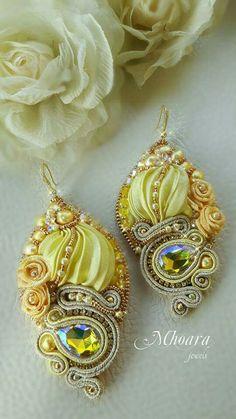 ' Yellow Floral ' shibori silk and soutache designed by Mhoara