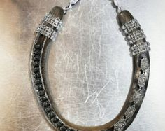 Decorative Horseshoe with Beading and Burlap Flowers Horseshoe