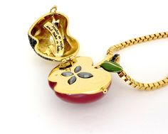 Disney Couture Snow White Large Red Gold Plated Poison Apple Locket