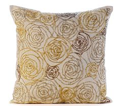 Luxury Gold Pillows Cover Beaded Rose Flowers by TheHomeCentric