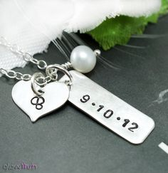 Personalized necklace, Custom date, Heart charm, Wedding date, Anniversary necklace, Sterling silver, Birthday jewelry. $42.99, via Etsy.