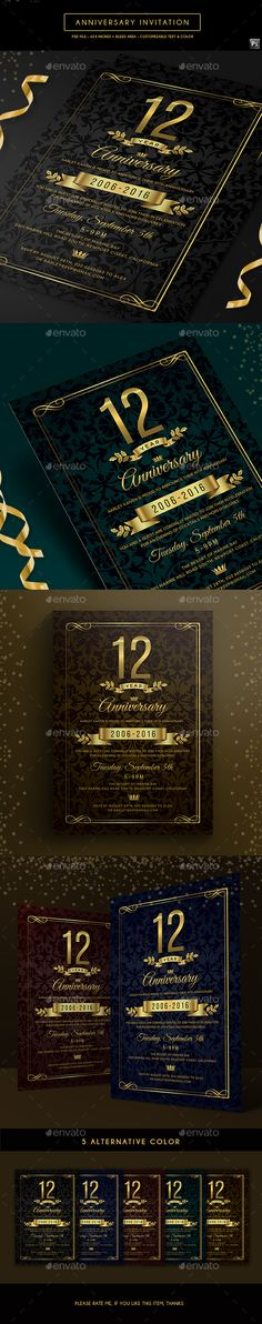 #Anniversary #Invitation - Anniversary Greeting Cards Download here: https://graphicriver.net/item/anniversary-invitation/19770240?ref=classicdesignp