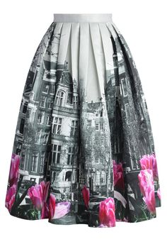 Tulip Town Contrast Print Pleated Midi Skirt - Skirt - Bottoms - Retro, Indie and Unique Fashion
