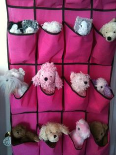 Hanging shoe organizer for stuffed toys!  This from my daughter's bedroom makeover written up in this blog post.  Enjoy!  http://streamlife.ca/blog/2012/07/03/beautiful-bedroom-makeover-girls-bedroom-grows-from-toddler-to-tween/