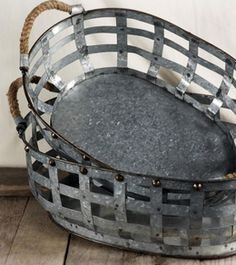 "49.00 SALE PRICE! . Set of Two Galvanized Baskets with Rope Handles . Regular price . Largest basket is 17.5"" long x 12"" wide x 6"" tall ..."