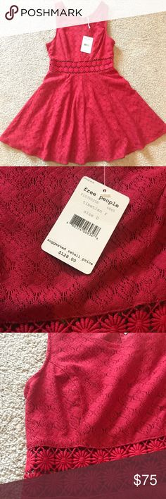 Maroon free people dress size 0 NWT Gorgeous NWT Free People daisy crochet dress. All over lace with sheer daisy crochet waist.  Size 0.   - Sleeveless  - Concealed back zipper/lined - Cotton/nylon Free People Dresses Mini