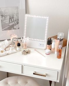 The best portable lighted makeup mirror in the world. Use as a table mirror or bathroom vanity and live stream device, comes with a magnifying mirror and Bluetooth selfie function. Oprah's Favorite Thing For Room Ideas Bedroom, Bedroom Decor, Dream Bedroom, Makeup Vanity Decor, Makeup Desk, Makeup Rooms, Makeup Vanity In Bedroom, White Makeup Vanity, Makeup Vanity Lighting