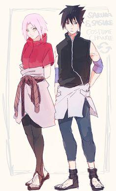 SasuSaku clothing swap. And either way Sasuke is wearing a skirt like thing.