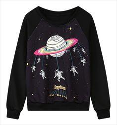 US $10.22 -- Funny Astronaut Cartoon Printing Sweatshirt Casual Long Sleeve Round Neck Women Sweatshirts Loose Sudadera 2016 Autumn Moletom aliexpress.com