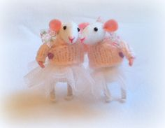 mouse SISTERS Little white Felt Christmas gift ballerina mouse friend ready to SHIP