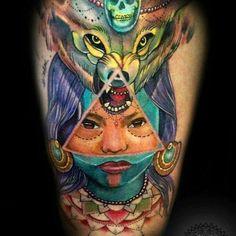wolf tattoo lobo mujer