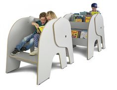 Elof with reading place. Elephant shaped book display with reading place.  Ideal for children's libraries and social spaces.