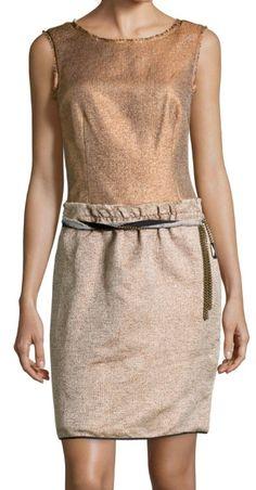 Vestido de Hoss Intropia, dorado y gris jaspeado