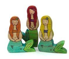 Mermaid Set - Wood Toys - Childrens Toys - Waldorf Toys. $36.00, via Etsy.