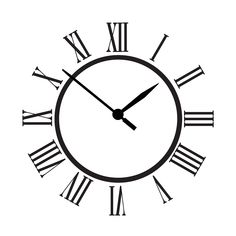 Old Clock. Vector old vintage clock face. Watch with Roman numbers. Vector Illustration.