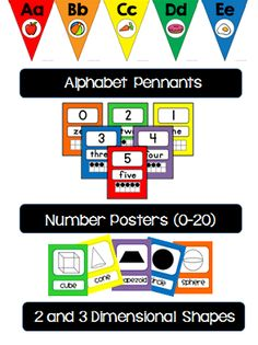 Classroom Decor Bundle:  Classic Color   Includes:   Alphabet Pennants  Number Posters Shapes  Calendar Set  Birthday Display  Secret Agent Numbers  Behavior Clip Chart Color posters Welcome Banner  Table signs  Wall of Wow! Banner