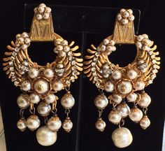 Outstanding Vintage Miriam Haskell Earrings~Pearls/Crystals/RS/Gilt Filigree #MiriamHaskell