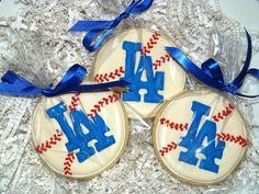 1 Dozen LA  Los Angeles Dodgers Baseball by SweetRoseCookies