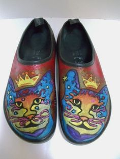 Hand painted colorful kitty Cat clogs shoes For Sale on Ebay
