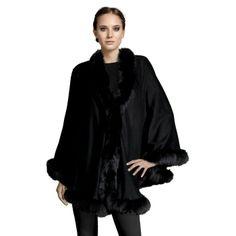 Belle Fare 100% Cashmere Cape With Fox Fur In Black featured in vente-privee.com