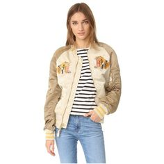 ONE by Alpha Industries Tiger Oversized Souvenir Jacket (303 CAD) ❤ liked on Polyvore featuring outerwear, jackets, vintage white, bomber jacket, military style jacket, military utility jacket, flight jacket and military flight jacket