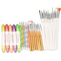 Fashioncity  32 in 1 Nail Art Design Set Dotting Painting Polish Brush Pen Tools = 1645438788