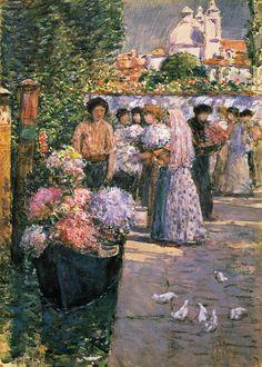 Childe Hassam, Flower Market, 1895