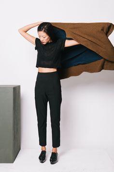 Sheer black tee, cropped pants & platform oxfords #style #fashion