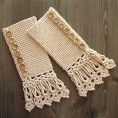 *Free Crochet Pattern - Cuffs In Beige With Long Lace Edging - Tunisian Crochet - 2013-10-05, by Jolanta Gustafsson