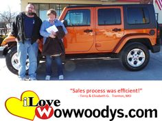 """Sales process was efficient!"" Elizabeth & Terry Gardner Trenton, Missouri"