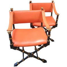 Pair of Mid Century Modern, Hermes Orange Leather, Campaign chairs