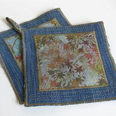 KITCHEN POTHOLDER SET recycled denim with earthy batik by Lynn Minney Designs