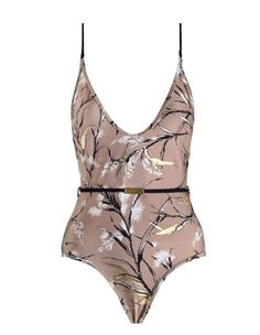 Gossamer Scoop Bar One Piece, from our Resort Swim 17 collection, in Bamboo printed shiny lycra. Plunge neckline and low cut back, with contrasting adjustable shoulder straps in black. Comes with a detachable belt with gold bar. Zimmermann swimwear.