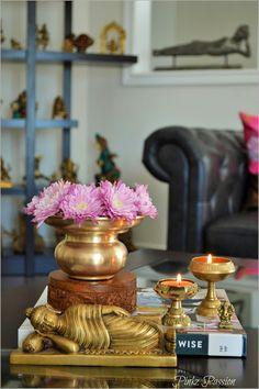 Desi décor style., hand down treasures, heirloom pieces, Indian brass décor, Indian décor, Indian home décor, Indian Inspired Décor, Indian shopping, brass vignettes, reclining Buddha, Buddha decor