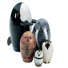 """Bits and Pieces - """"Whale of a Good Time"""" - Matryoshka Dolls - Wooden Russian Nesting Dolls - Sea life Animal Figurines - Stacking Dolls Set of 5"""