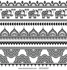 stock-vector--mehndi-indian-henna-tattoo-seamless-pattern-with-elephants-297248357.jpg (450×470)